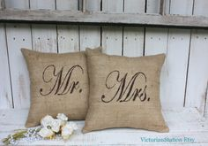 Mr and Mrs Burlap pillow set by victorianstation on Etsy, $69.00
