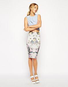 ASOS Pencil Skirt in Scuba in Mirror Rose