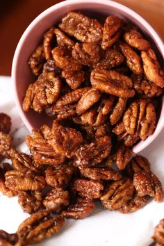 My Easy Candied Pecans Recipe is the perfect sweet and salty snack, gift, or salad topper! These are quick to make and the perfect garnish for sweet and savory dishes! #cookiesandcups #candiedpecans #glazedpecans #pecanrecipe #candiednuts #candiednuts Candied Pecans For Salad, Spiced Pecans, Honey Roasted Pecans, Roasted Nuts, Almonds, Pecan Recipes, Cooking Recipes, Granola, Salty Snacks