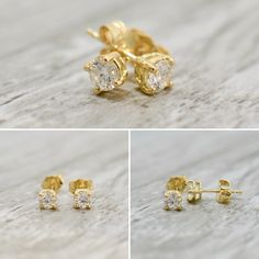 db602a460 Featured are a pair of diamond stud earrings with 4mm round brilliants  totaling~.40ct