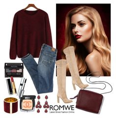 """""""Romwe Red #2"""" by diva1 ❤ liked on Polyvore featuring Gianvito Rossi, 3.1 Phillip Lim, American Eagle Outfitters, NYX, Chanel, By Terry, Dsquared2, Erickson Beamon, contest and red"""