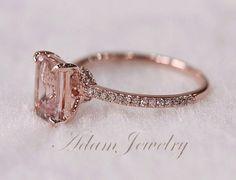 Pink Emerald Cut VS Morganite Ring SI/H Diamonds Wedding Ring 14K Rose Gold/ White Gold Engagement Ring/ Promise Ring/ Anniversary Ring