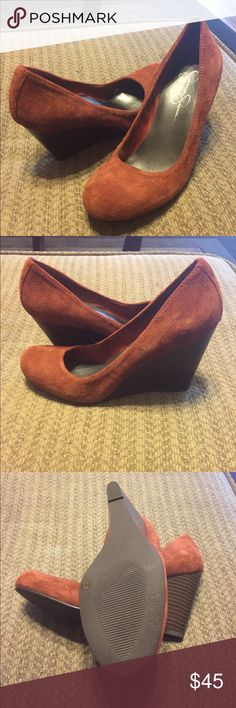 Jessica Simpson burnt orange wedges These never worn burnt orange suede wedges are to die for! Jessica Simpson 7 1/2 Jessica Simpson Shoes Wedges