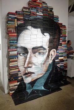 Book sculpture piece by Mike Stilkey, presented at L.A Art Fair