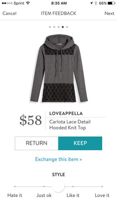Loveappella Carlota lace detail hooded knit top. I love Stitch Fix! A personalized styling service and it's amazing!! Simply fill out a style profile with sizing and preferences. Then your very own stylist selects 5 pieces to send to you to try out at home. Keep what you love and return what you don't. Only a $20 fee which is also applied to anything you keep. Plus, if you keep all 5 pieces you get 25% off! Free shipping both ways. Schedule your first fix using the link below! #stitchfix…