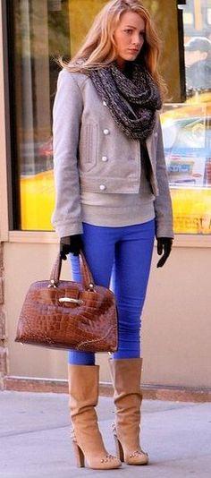 blake lively - jeans, leathwr jackt, infinity scarf, boots big handbag