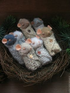 White mouse nest needle felting