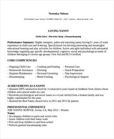 Nanny Resume Template  Template