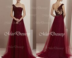 A Line One Shoulder Floor Length Tulle Dark Red Evening Dress,  Wedding Party Dress, Prom Dress, Formal Gown
