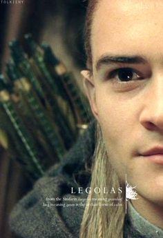 Legolas: from the Sindarin laegolas meaning greenleaf, laeg meaning green is the archaic from of calen. #lotr