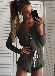 Baumwollmischungen Solide Lange Ärmel Lässige Kleidung Jumpsuits & Rompers (1096609) @ floryday.com