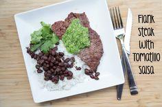 Grilled Flank Steak with Tomatillo Salsa Recipe | 5DollarDinners.com