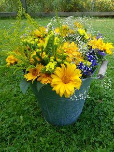 A bucket of summerflowers