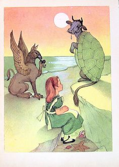 Alice and the Turtle 1955 Alice In Wonderland by Lewis Carroll.  Marjorie Torrey Illustration Book Plate