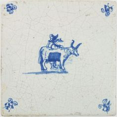 Antique Dutch Delft tile in blue with a farmer and his ox, 17th century