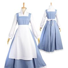 2018 New Beast Maid Belle Dress Beauty and the Beast Belle Cosplay Halloween Costume Maid Long Sleeve Dress Belle Princess Short Dress Belle Blue Dress Costume, Princess Belle Costume, Disney Princess Dresses, Belle Dress, Costume Dress, Diy Belle Costume, Disney Dresses, Belle Cosplay, Cosplay Dress
