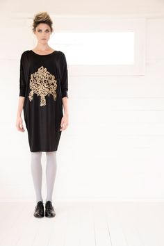 Loose-fitting dress with metallic embroidery at the front by Carolyn Donnelly The Edit What To Wear, Metallic, Women Wear, Dressing, Shirt Dress, Embroidery, Shirts, Fashion Design, Shopping