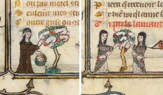 nuns and the penis tree, Roman de la Rose, France 14th century. Paris, BnF, Fr 25526, fols. 106v, 160r