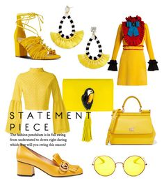 """""""50 shades of yellow"""" by valeriagban on Polyvore featuring Gucci, Dolce&Gabbana, Nine West, Ray-Ban, Nach Bijoux, Daizy Shely and BaubleBar"""