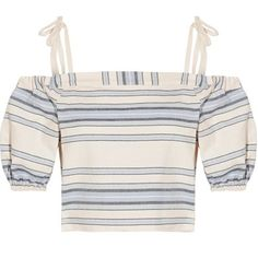 Check out this product: LemLem - Halima Off-the-shoulder Striped Cotton And Linen-blend Top - Sky blue #villoid