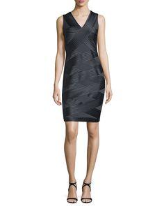 Sleeveless Crisscross Ponte Dress, Charcoal (Grey) - Halston Heritage