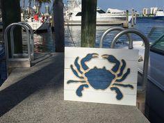 Hecho a mano cangrejo azul con decoración de por BeachByDesignCo