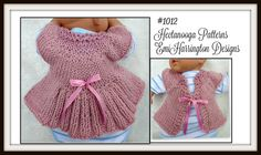 KNITTING PATTERN - Baby Shrug, Cardigan Sweater, Newborn to 1 yr, baby clothing, knitting for baby, Angelica Shrug, #1012. Perfect shower gift, works up in less than 2 hours! Make 3 sizes: newborn to 3 months; 3 - 6 months; 6 - 12 months! . YOU WILL NEED: Worsted weight yarn: 160 to 280 yards 6 mm straight knitting needles, one pair Yarn needle 2 yards 1/2 inch ribbon . YOU WILL NEED TO KNOW: Cast on Knit stitch Purl stitch Increase (work in front and back of stitch) Cast off . (I include…