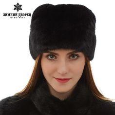 618335cfa1e Top grade mink fur hats Genuine Leather fur hats for women Fashion Warm  winter Black fur hats russian fur hat