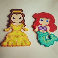 Belle and Ariel - Disney Princess perler beads by perlering
