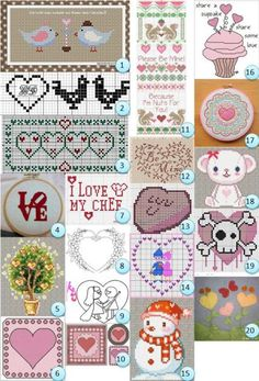 Lots of free cross stitch charts.  Also the board from which I pinned this (http://pinterest.com/tammya9555/a-stitch-in-time-cross-stitching/ ) has lots of cross stitching references and links.
