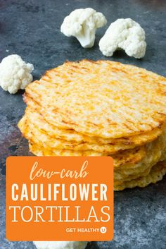 These low carb baked cauliflower tortillas are gluten free grain free and a healthier alternative to typical tortillas. Nobody would ever know they arent standard unhealthy tortillas but they ARE! Try this healthy alternative the next time you whip u Gluten Free Recipes For Breakfast, Low Carb Breakfast, Low Carb Recipes, Vegetarian Recipes, Cooking Recipes, Healthy Recipes, Healthy Meals, Cauliflower Tortillas, Baked Cauliflower