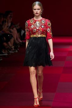 Above-waist skater dress with sacred heart embellishments, skirt is satin with lace overlay. Feminine, pretty. Dolce & Gabbana Spring 2015 Ready-to-Wear - Collection - Gallery - Look 1 - Style.com
