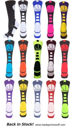 Basketball Logo Crew Socks are back in stock! Fun colors, team colors, neons - so many to choose from. Basketball Is Life, Basketball Season, Basketball Gifts, Basketball Socks, Basketball Drills, Sports Basketball, Basketball Players, Basketball Motivation, Softball Gifts