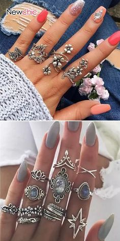 Shop NowFrom Vintage Rings Set Fashion Jewelry for Women Cute Jewelry, Boho Jewelry, Jewelry Crafts, Jewelry Sets, Jewelry Rings, Silver Jewelry, Jewelry Accessories, Jewelry Design, Fashion Jewelry