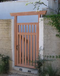 A photo of a Modern/Asian Fusion gate I designed and built in the Hollywood Hills. See my online portfolio with over photos of my fine wood gates and more. Serving the Los Angeles communities of Hollywood Hills, Studio City, Silver Lake, Malibu and more. Backyard Gates, Garden Gates And Fencing, Garden Doors, Garden Arbor, Driveway Gate, Japanese Fence, Japanese Garden Design, Japanese Style, Wooden Garden Gate