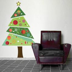 fabric christmas tree wall sticker by spin collective | notonthehighstreet.com