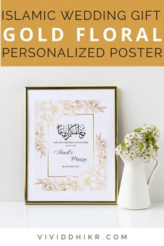 Gold Floral Nikkah Poster | This gold floral border personalized couples poster is a great gift idea for a bridal shower, engagement, wedding gift, anniversary, or housewarming. This features the couple's names and wedding dates. It can be personalized for any special couple. This unique poster is the perfect handmade keepsake for any occasion and it is sure to add a personalized touch to any home. #FloralPoster #PersonalizedPoster #NikkahPoster #GiftPoster #Poster #vividdhikr Wedding Posters, Personalized Posters, Unique Poster, Floral Border, Couple Gifts, Wedding Signs, Wall Art Decor, Dates, Bridal Shower