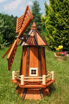 Decorative Garden Windmill Ornament 1 Metre High With Wooden Shingle Roof  Light Brown And Natural Wood Finish With Or Without Solar Lighting