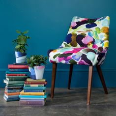 Let the colour in with our abstract fabric James Summer, ideal for curtain making & upholstery with a feel good design from Scottish designer bluebellgray. Burford Garden Company, Bluebellgray, Contemporary Armchair, Colour Consultant, Patterned Chair, Deck Chairs, Duck Egg Blue, Watercolor Design, Modern Prints