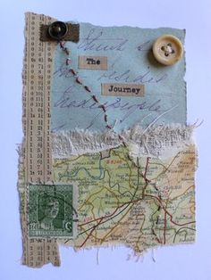 collage, mix media using objects from holidays, trapping in wax, sew into Art Journal Pages, Art Journaling, Junk Journal, Altered Books, Altered Art, Map Crafts, Fabric Journals, Travel Scrapbook, Art Journal Inspiration