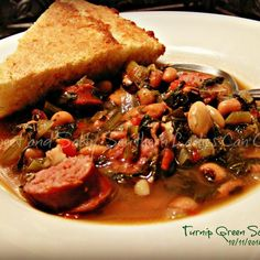 I think tunips greens is a very southern veggie and I for one love em! This soup will take the chill off on a cold day and is perfect for bringing in the New Year. Can't start the year without greens and blackeyed peas! Hope you enjoy! Crockpot Recipes, Soup Recipes, Salad Recipes, Cooking Recipes, Healthy Recipes, Turnip Recipes, Turnip Green Soup, Turnip Greens