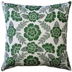 The Avens Green Floral Throw Pillow features a soft grass green floral print on a cotton fabric. Wash Pillows, Floral Throw Pillows, Decorative Throw Pillows, Pillow Arrangement, American Decor, Fabric Squares, Perfect Pillow, Decoration, Color Pop