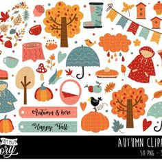 Fall Clipart Autumn Clipart Fall Harvest Clipart Pumpkins | Etsy Printable Stickers, Planner Stickers, Fall Clip Art, Pumpkin Printable, Scrapbooking, Baby Shower Fall, Diy Invitations, Fall Harvest, Happy Fall