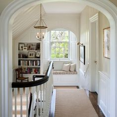 Window seat in the attic? A Window Seat For Your Cozy Home. I'd love a landing library and window seat. Traditional Staircase, Traditional House, Traditional Design, Traditional Decorating, Traditional Windows, Traditional Kitchens, Traditional Lighting, Traditional Interior, Traditional Bedroom