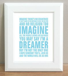 "John Lennon Imagine Beatles Lyrics Blue Typography Art Print 10""x8"" inch"