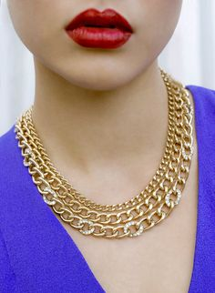 Haute, Haute, HAUTE!     Gold link chain necklace with jewel embellishments. Mmmm. More at Haute1.com!