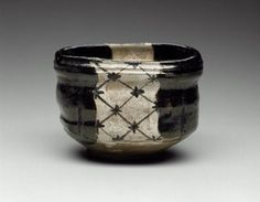 Tea bowl with net design  Japanese, Edo period, 18th–19th century, Seto ware, Revival Oribe type; stoneware, MFA