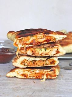 Grilled BBQ Chicken Calzones by thebakermama via goldmedalflour: Filled with BBQ chicken and melting cheese. #Calzones #Chicken