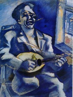 """artist-chagall: """" Portrait of Brother David with Mandolin by Marc Chagall Size: cm Medium: gouache on cardboard"""" Marc Chagall, Chagall Paintings, Francis Picabia, Art Graphique, Mandolin, Illustrations, French Artists, Oeuvre D'art, Modern Art"""