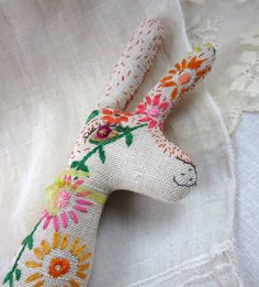 Baby Bean the Hand Embroidered Fabric Hare: sunflowers & daisies by etsy store murgatroyd and bean